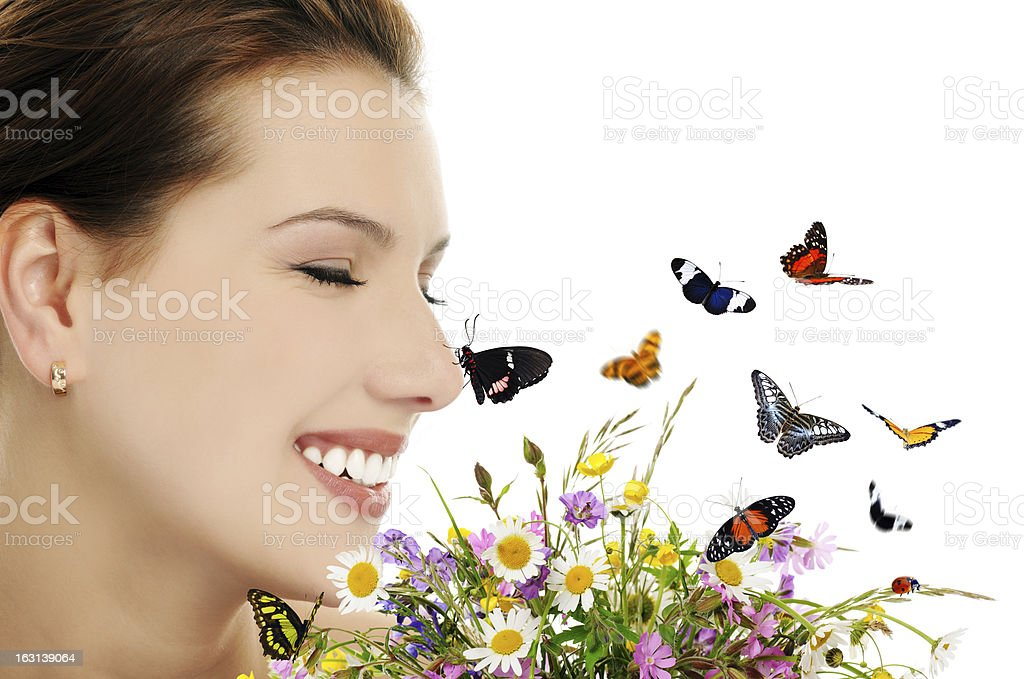 girl with flowers and butterflies royalty-free stock photo