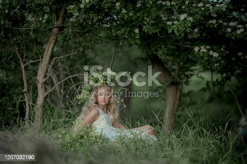 1054970060 istock photo Girl with flowers and wreath of flowers. 1207032190