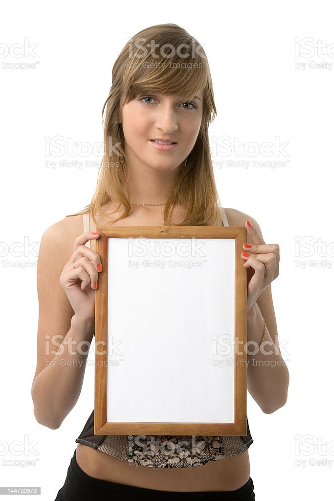 Girl with frame royalty-free stock photo