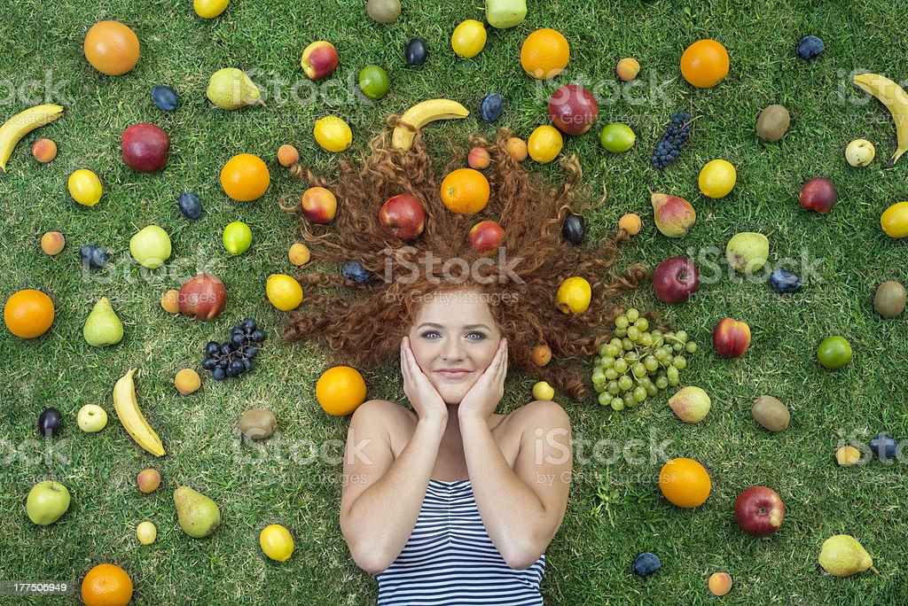Girl with fruit royalty-free stock photo