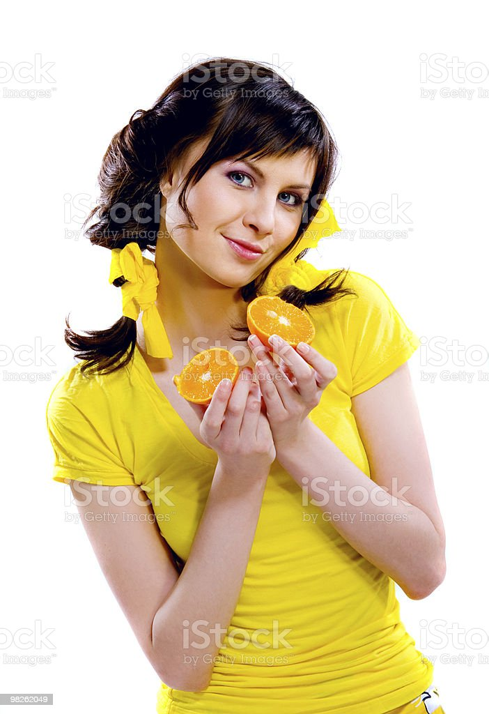 girl with fruits royalty-free stock photo