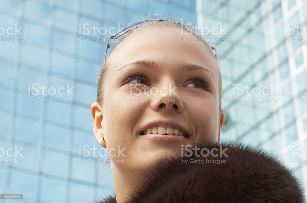 girl with fur royalty-free stock photo
