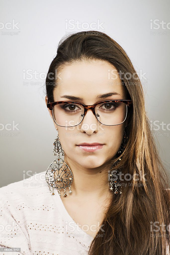 Girl With Geek Glasses And Big Earrings Stock Photo & More Pictures ...