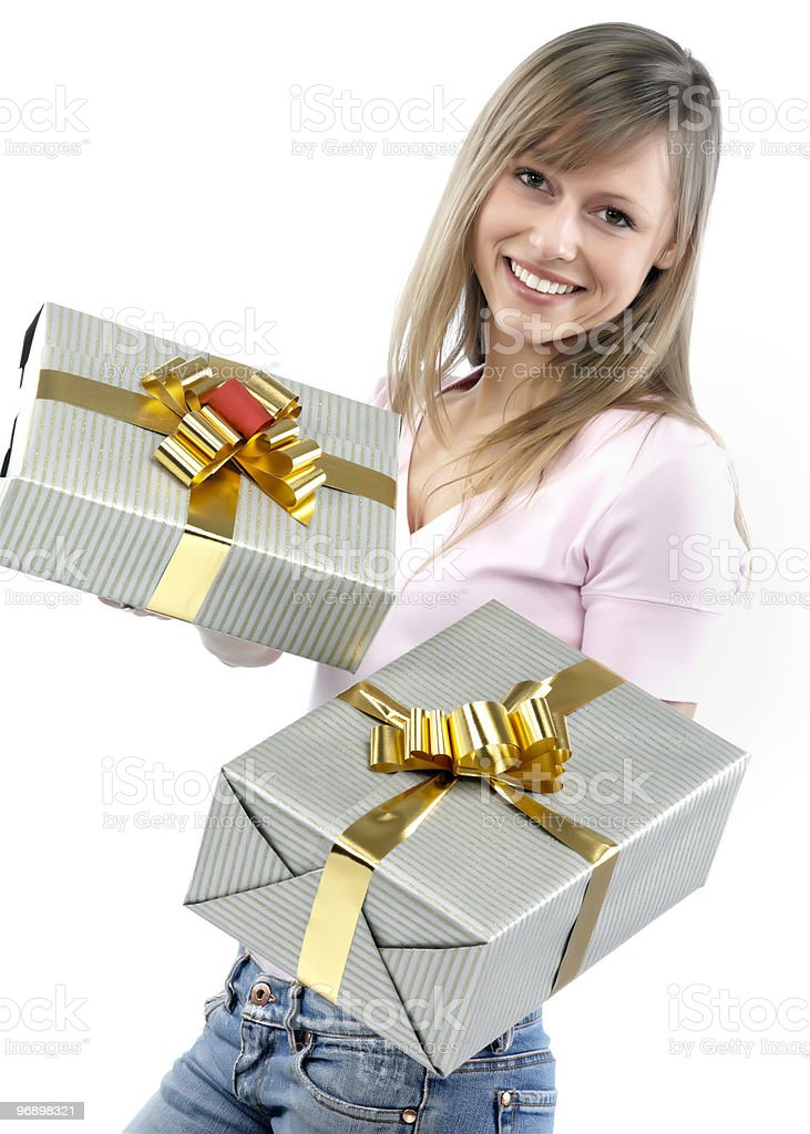 girl with gift packages royalty-free stock photo