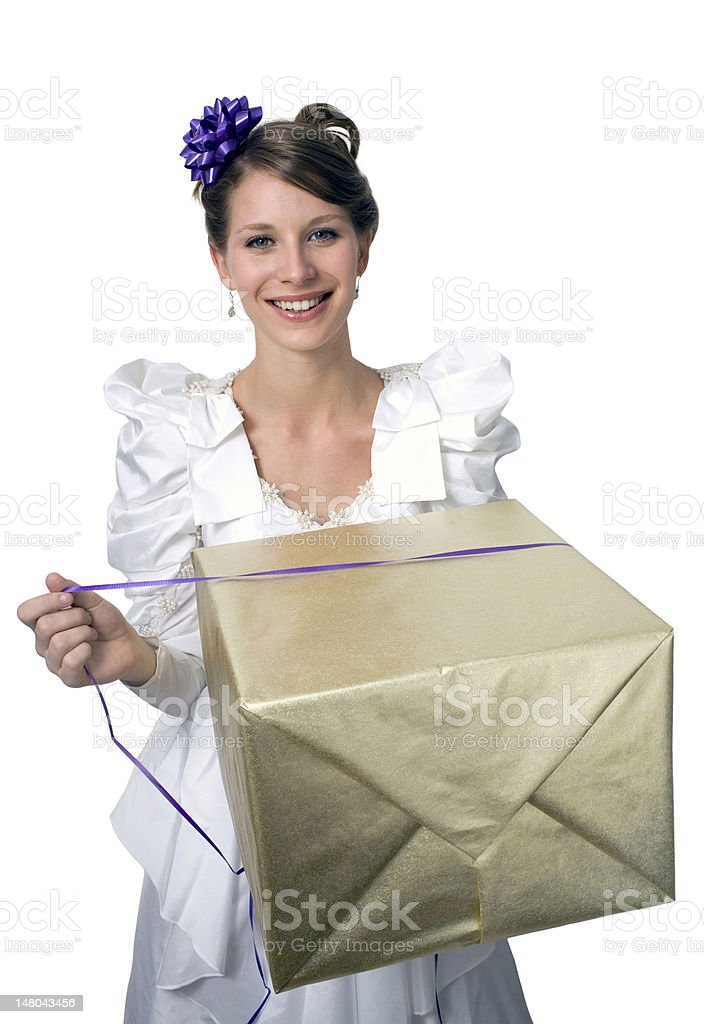 girl with gift royalty-free stock photo