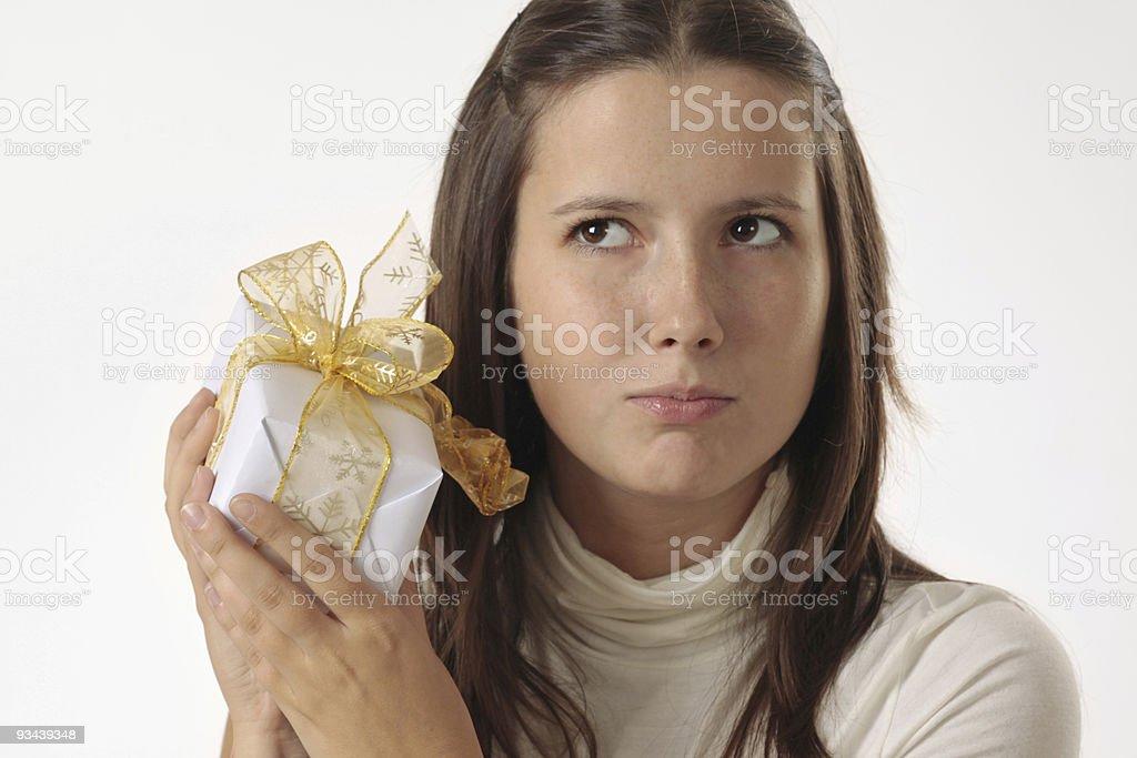Mädchen mit Geschenk Lizenzfreies stock-foto
