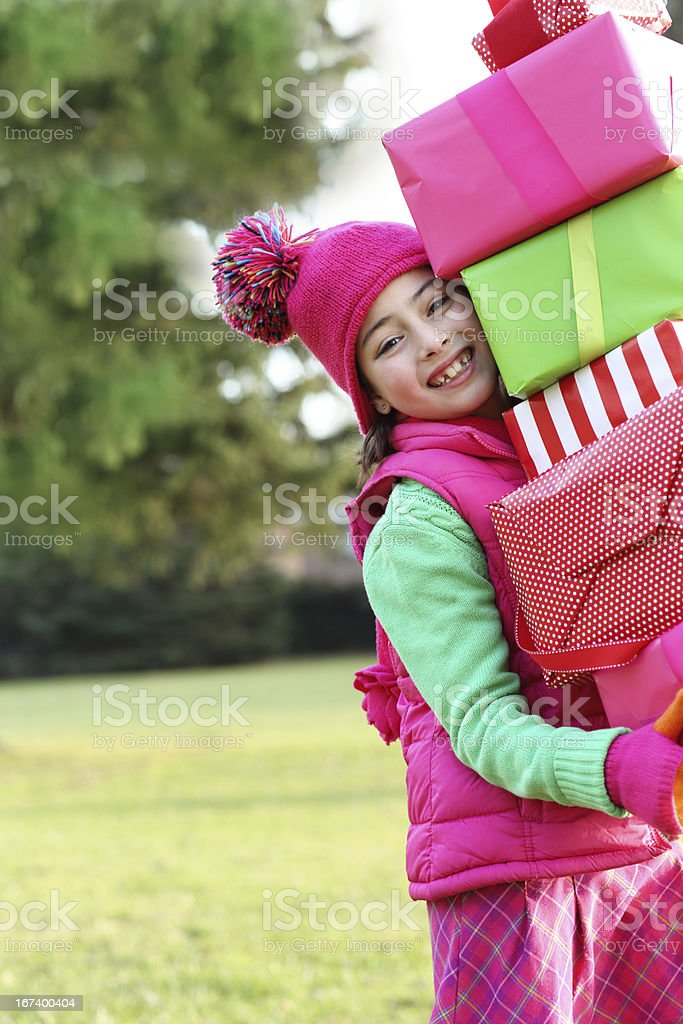 Girl with gifts royalty-free stock photo