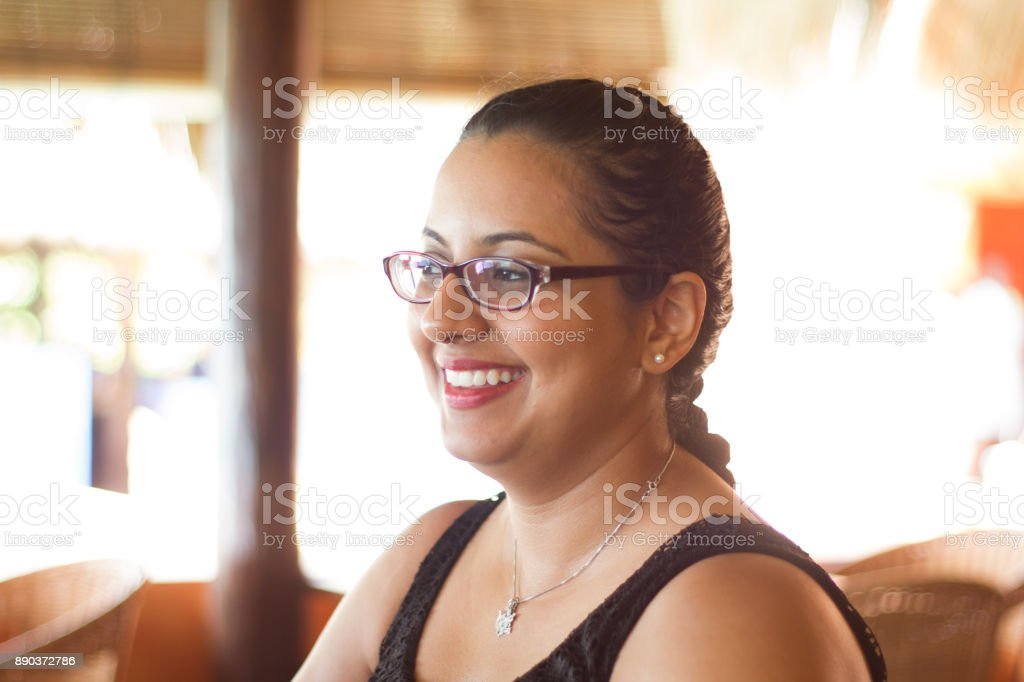 Girl with Glasses on Vacation stock photo