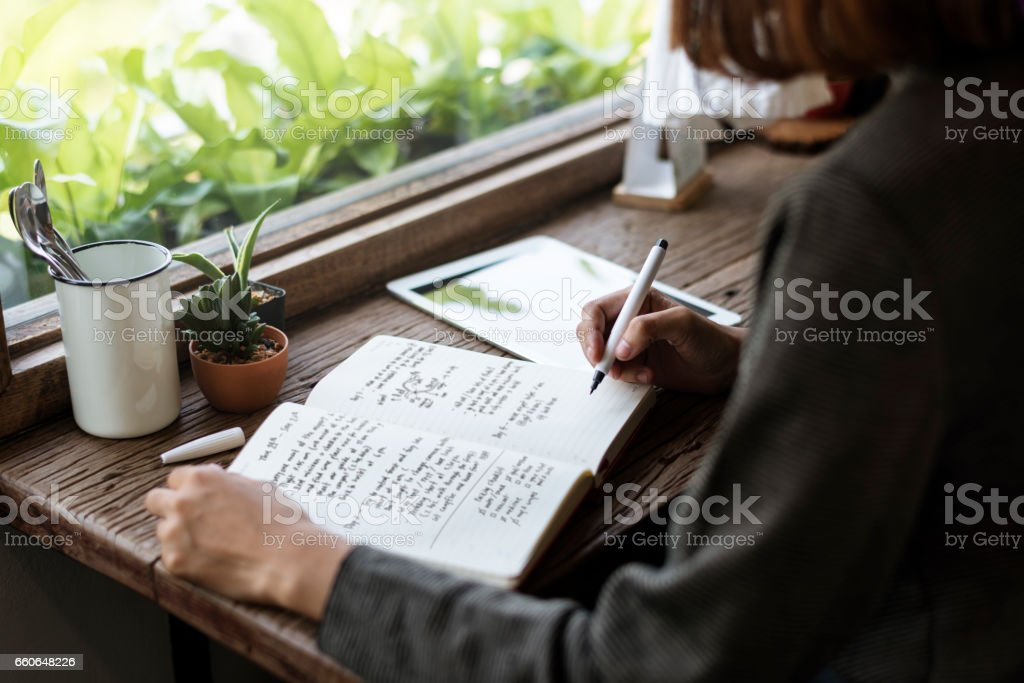 Girl With Glasses Sitting Wooden Table Workplace Stock Photo