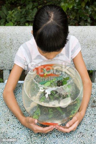 109350576 istock photo Girl with goldfish bowl 80469682