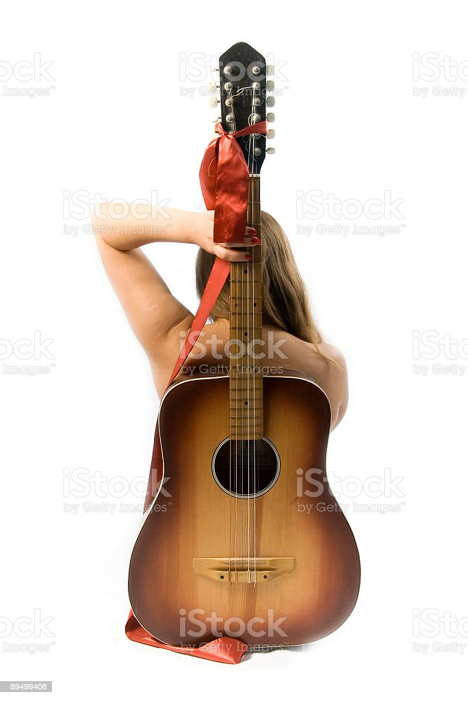 girl with guitar royalty free stockfoto