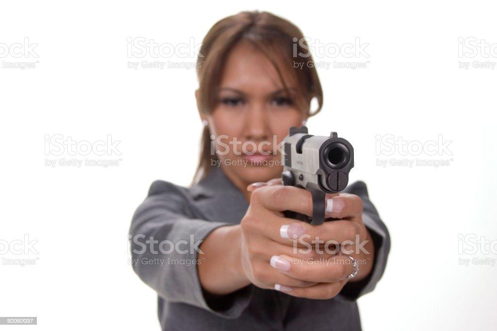 Girl With Gun royalty-free stock photo
