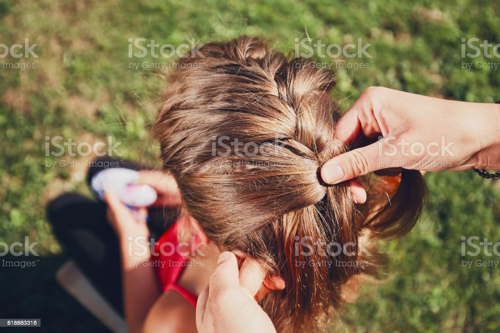 Girl with hair braids stock photo