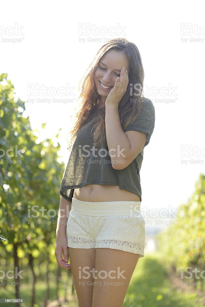 girl with hand on the face royalty-free stock photo