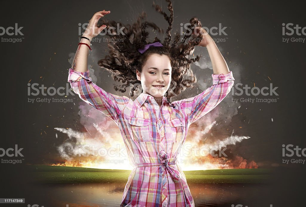 Girl with hands and hair up royalty-free stock photo