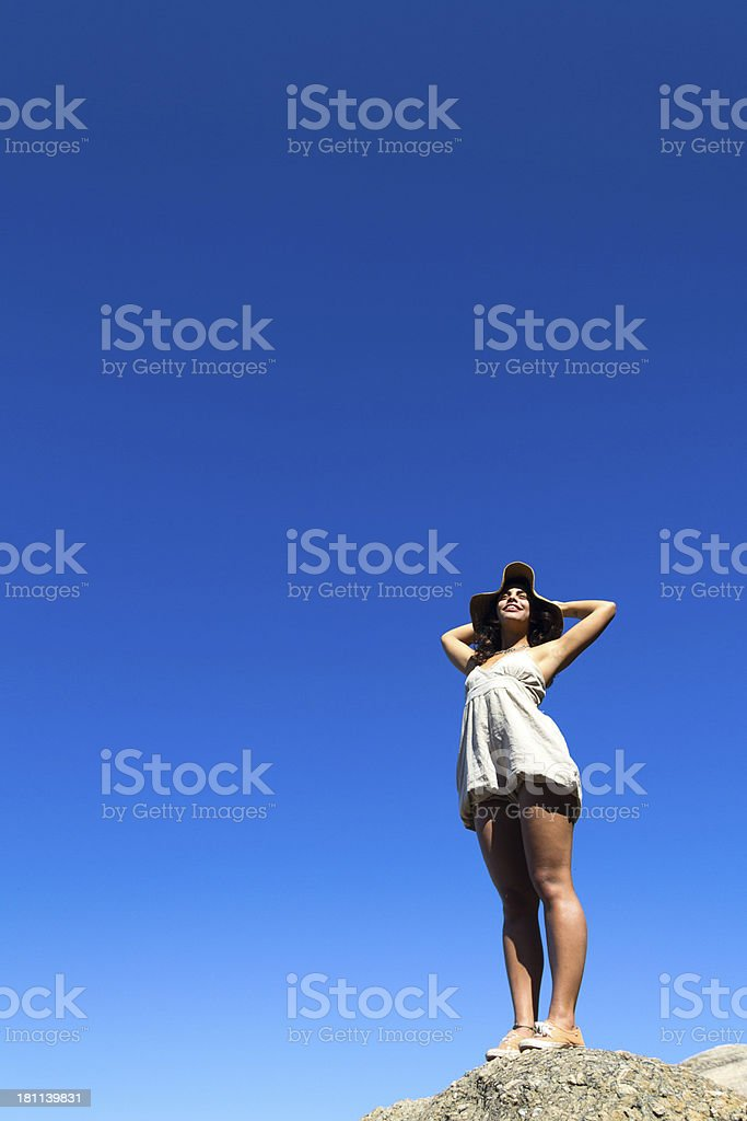 Girl with hands on head royalty-free stock photo
