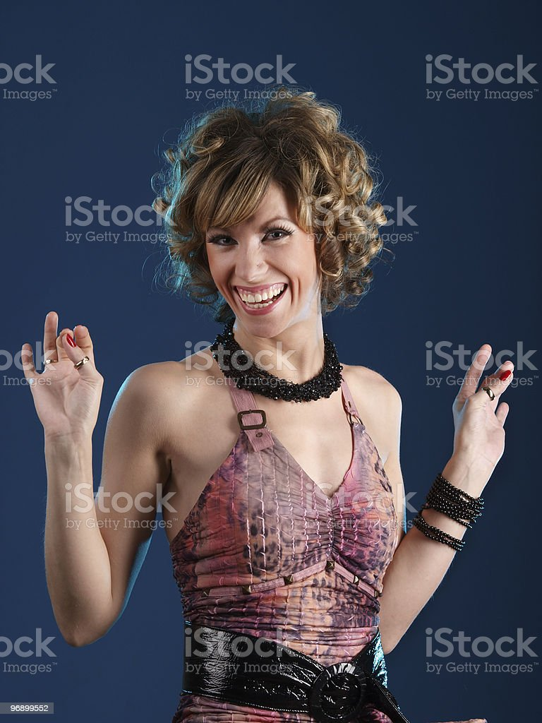 Girl with happy emotion royalty-free stock photo