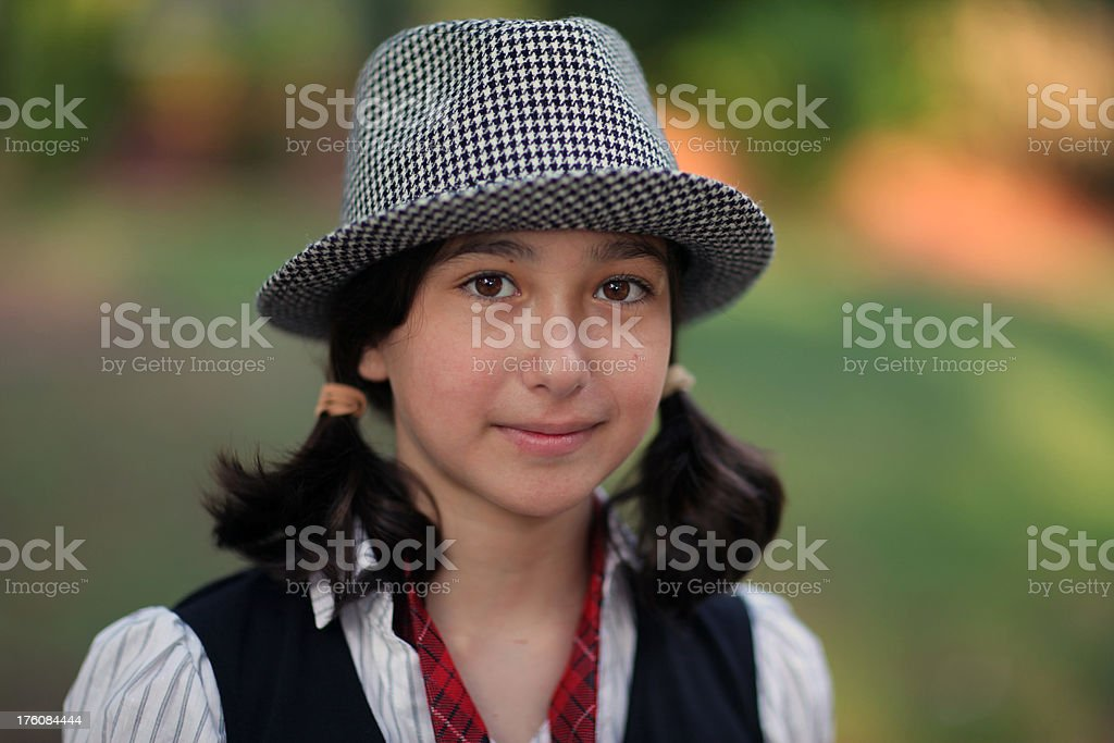 Girl with hat stock photo