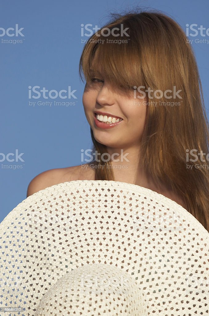 girl with hat royalty-free stock photo