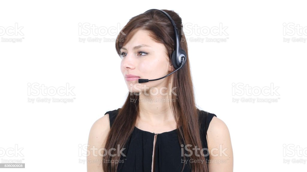 Girl with Headphones Looking on Side, White Background stock photo