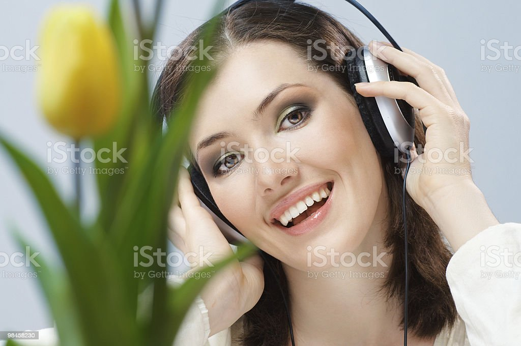 girl with headphones royalty-free stock photo