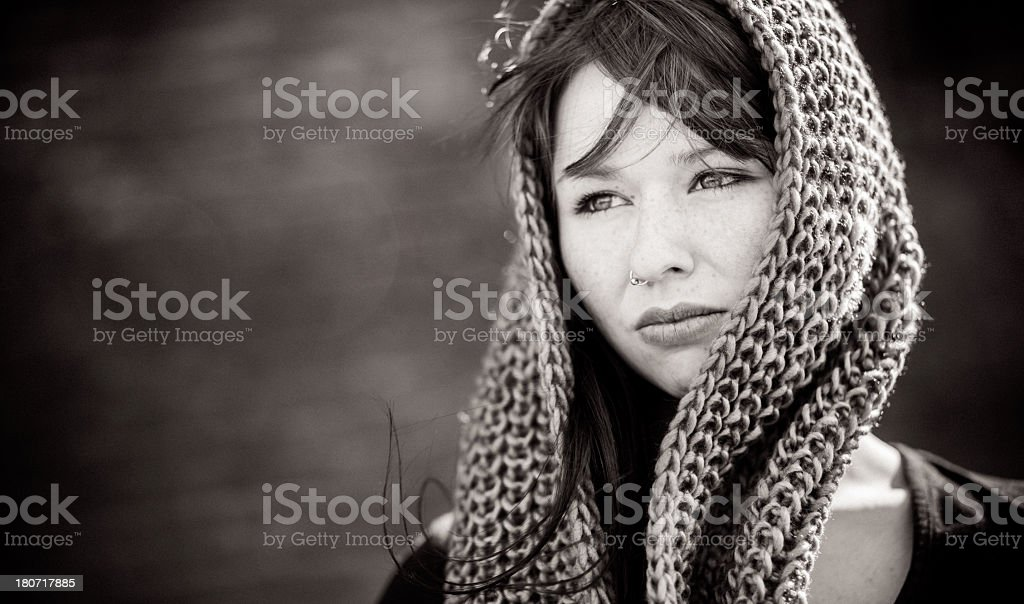 Girl with headscarf (Black and White) royalty-free stock photo