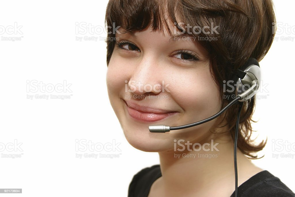 girl with headset royalty-free stock photo