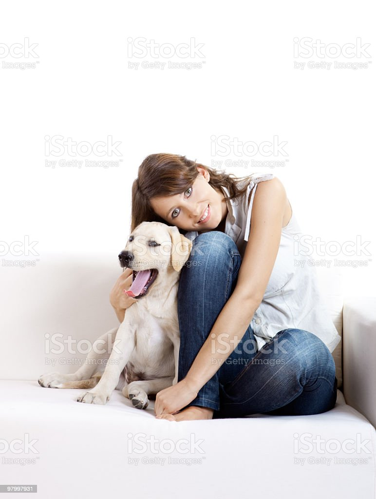Girl with her best friend royalty-free stock photo