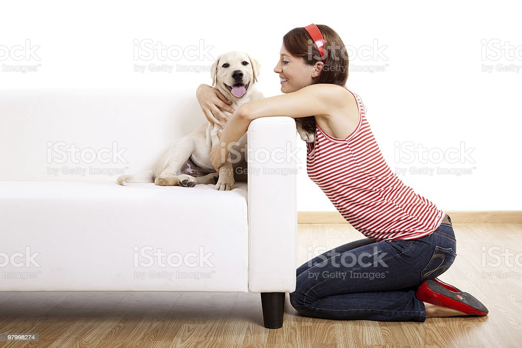 Girl with her best friend royalty free stockfoto