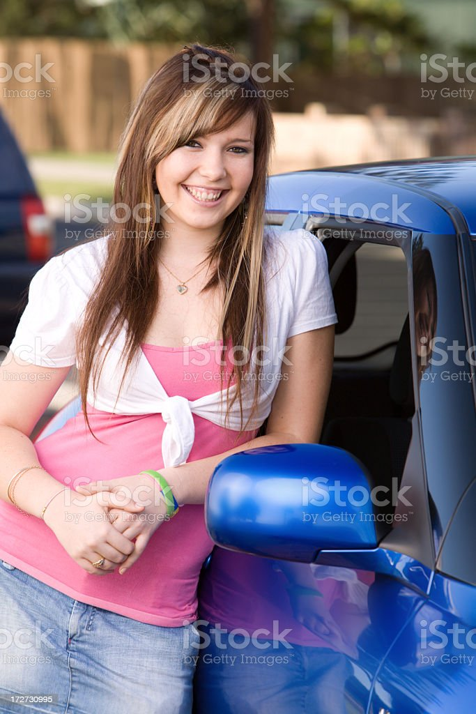 Girl With Her Car royalty-free stock photo