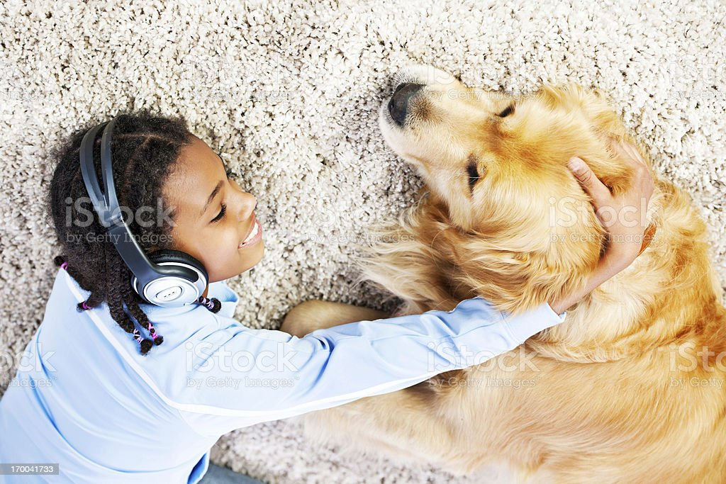 Girl with her dog royalty-free stock photo