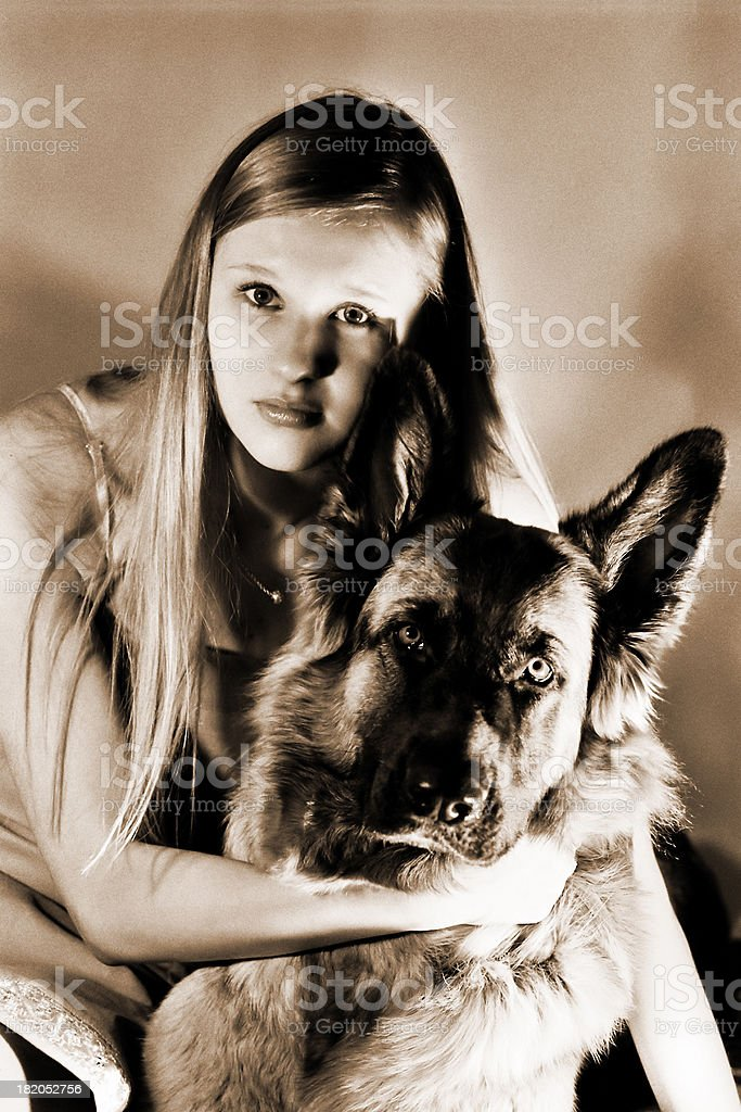 Girl with her friend royalty-free stock photo