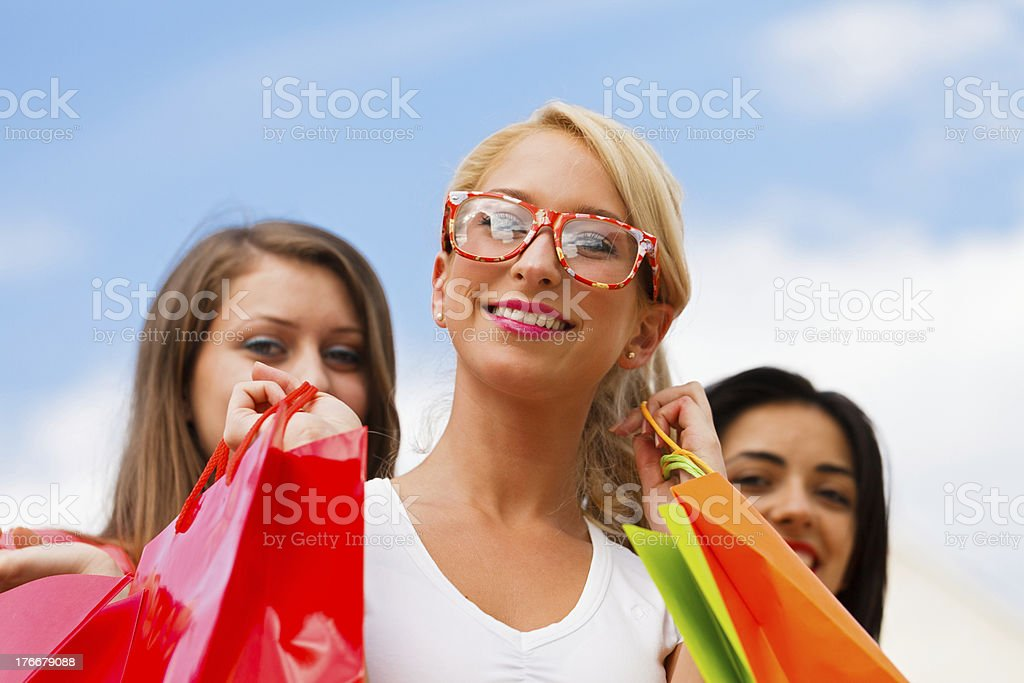 Girl With Her Friends After Shopping royalty-free stock photo