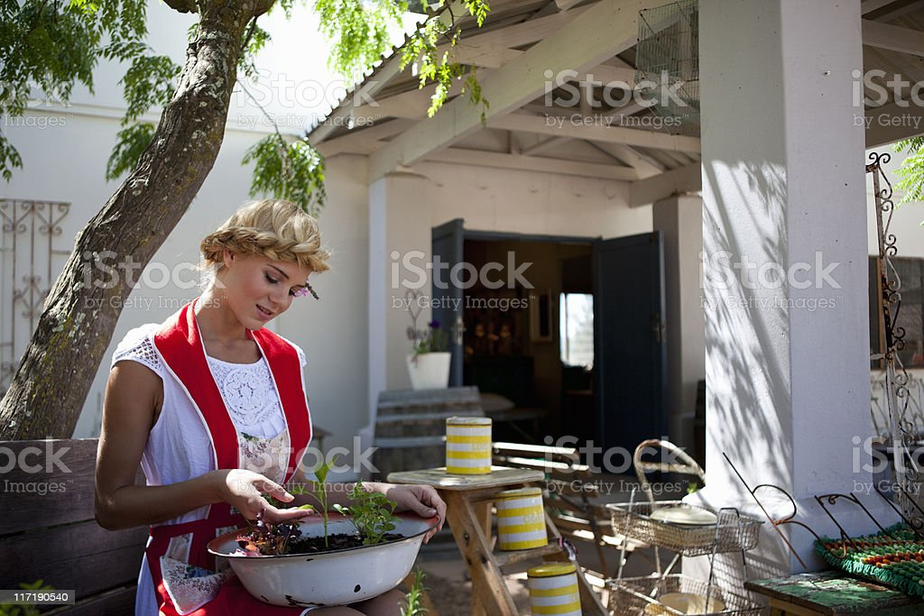 Girl with herbs stock photo