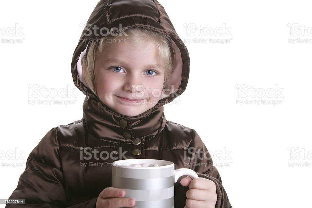 Girl with Hot Chocolate royalty-free stock photo