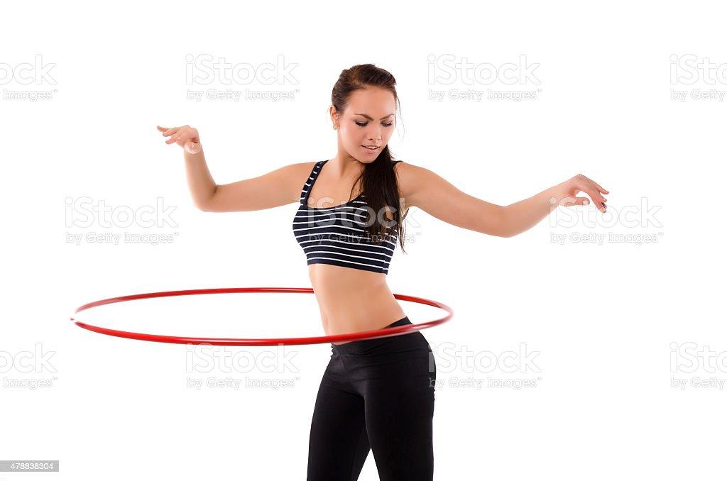 Chica con el hula hoop - foto de stock