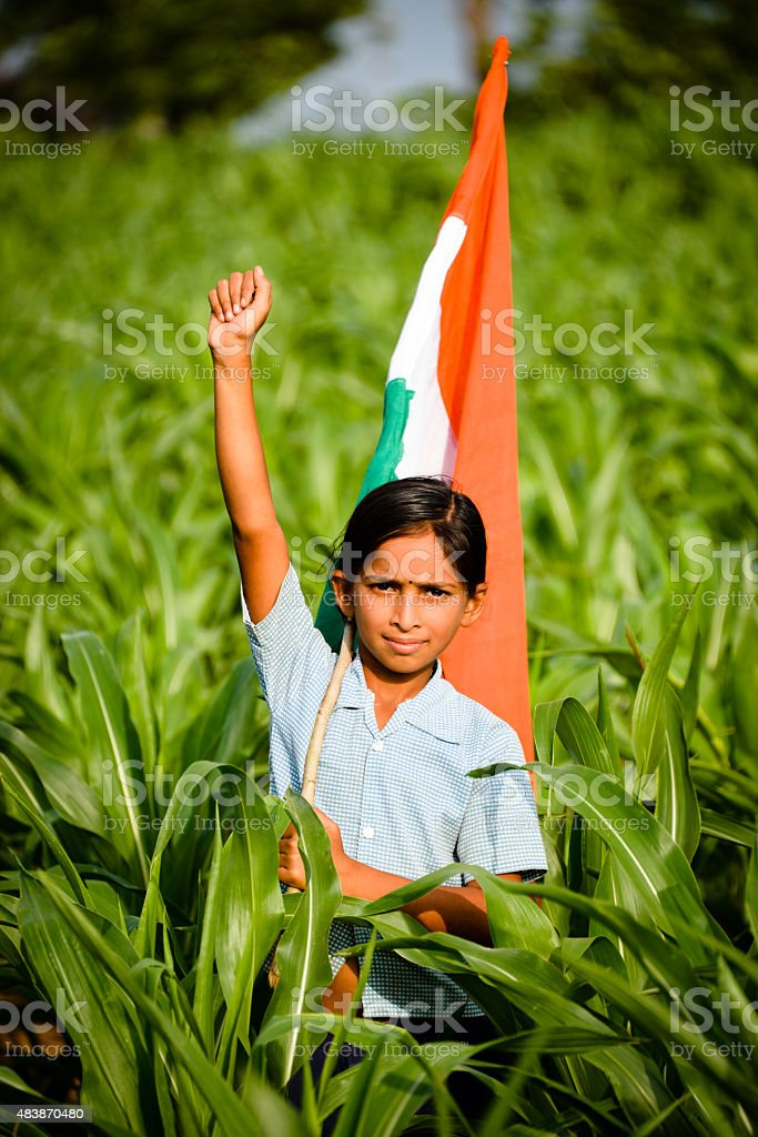 Girl with Indian Flag stock photo