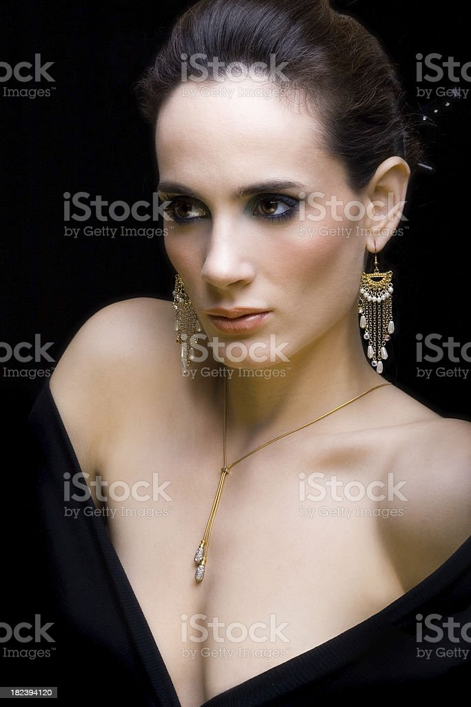 Girl with jewelry royalty-free stock photo