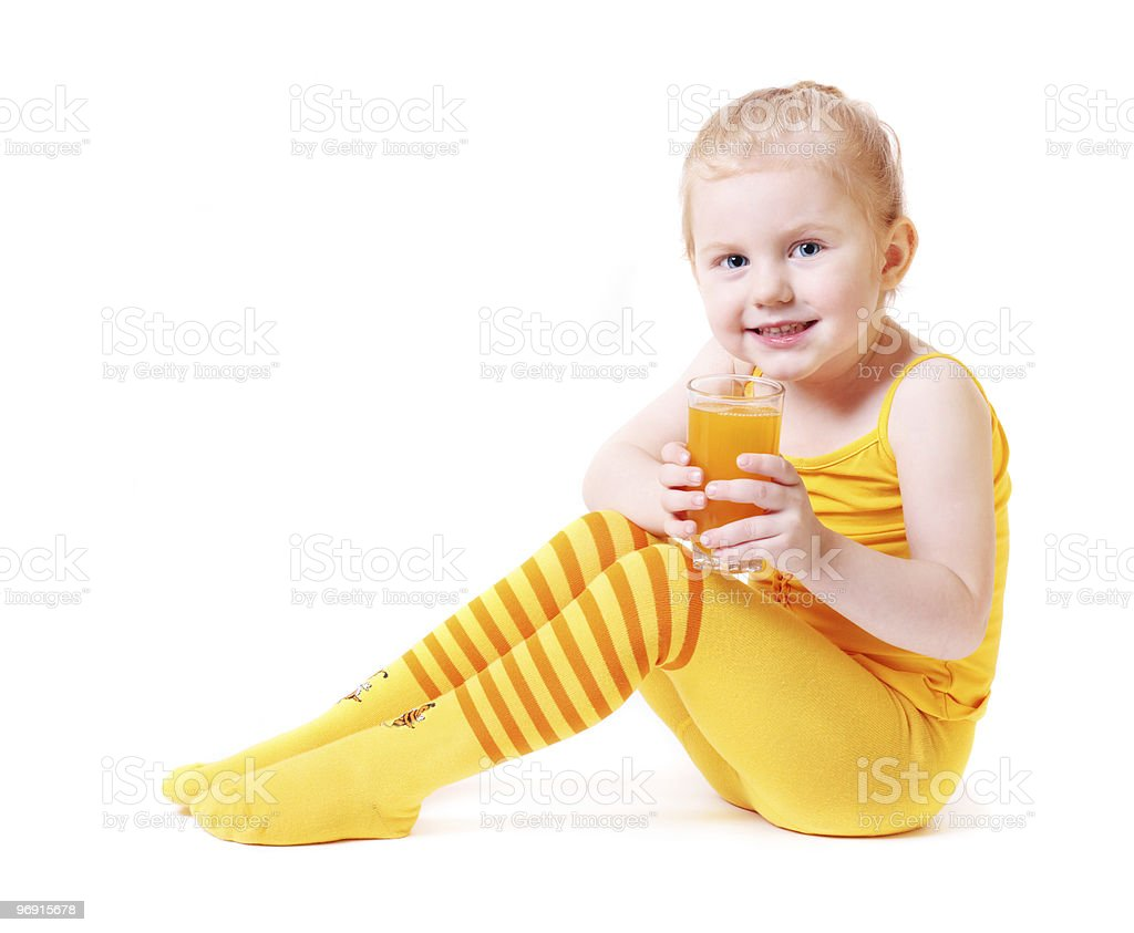 girl with juice isolated on white royalty-free stock photo