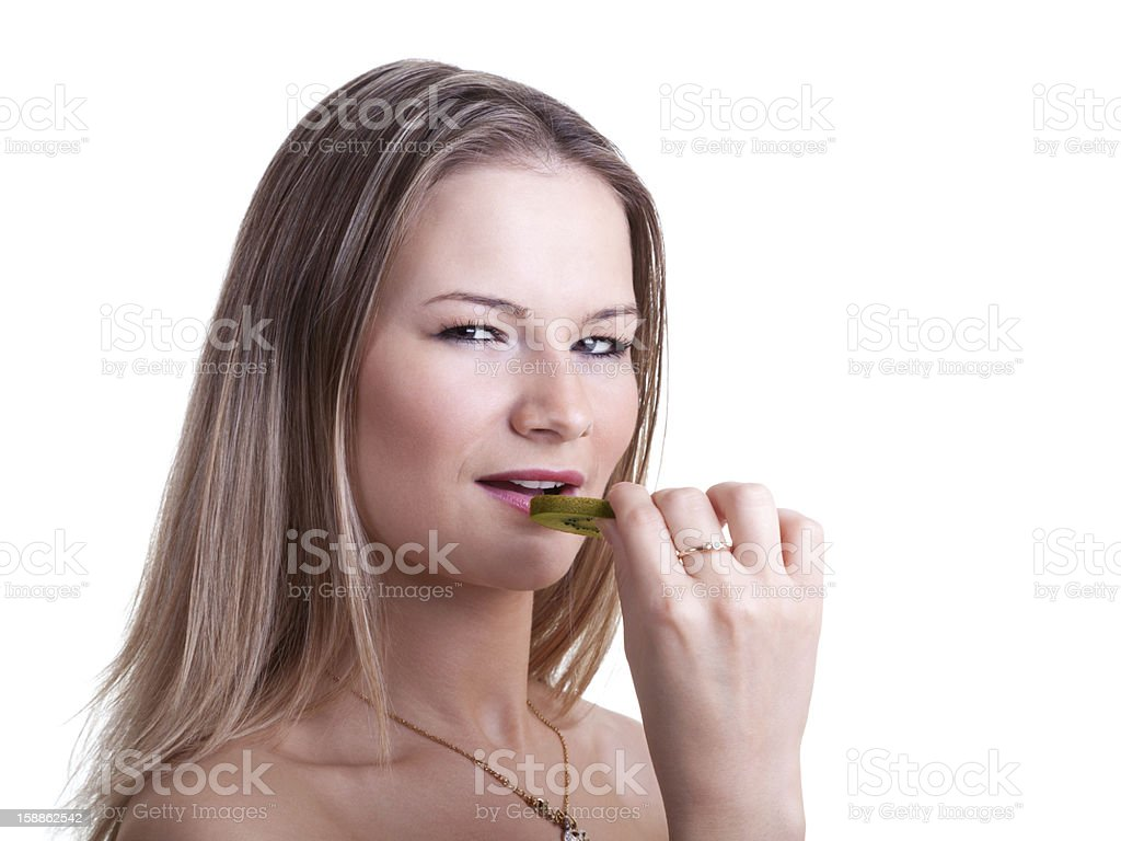 Girl With Kiwi royalty-free stock photo