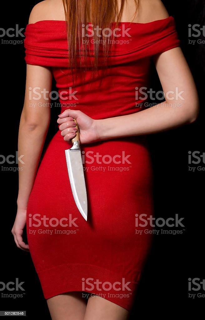 Menina com faca - foto de acervo