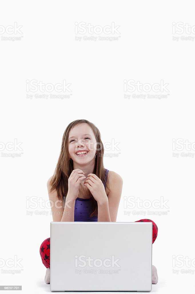 girl with laptop computer royalty-free stock photo