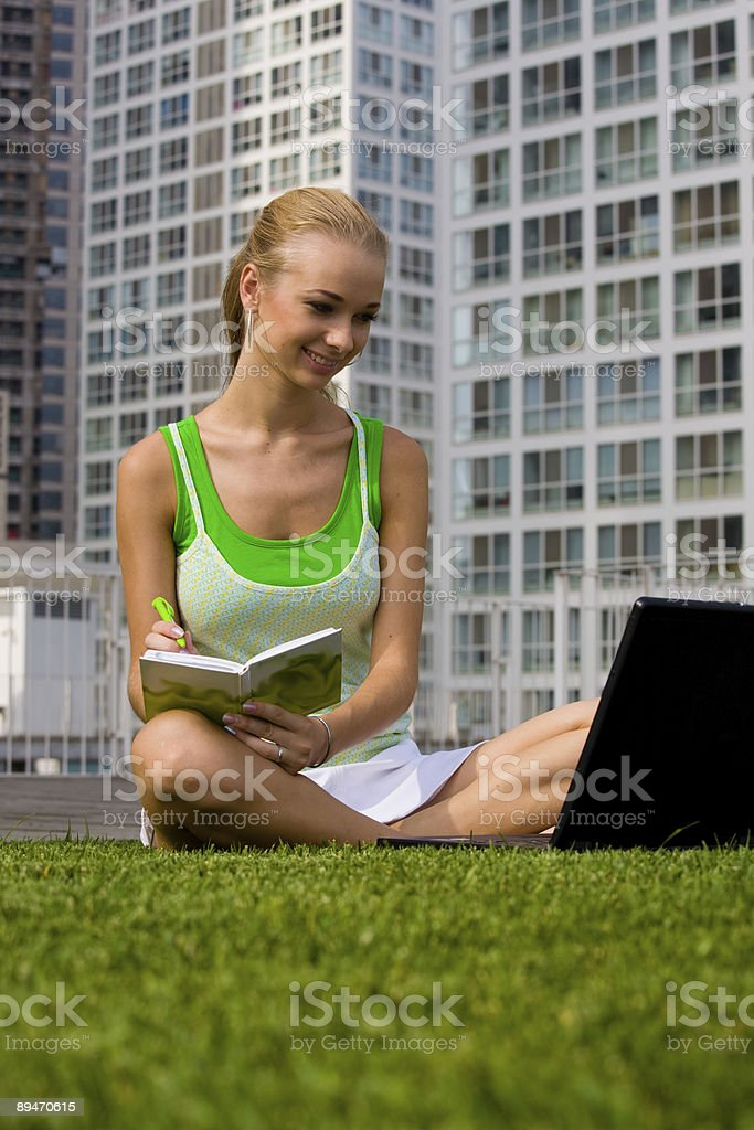 Girl with laptop on the grass royalty-free stock photo