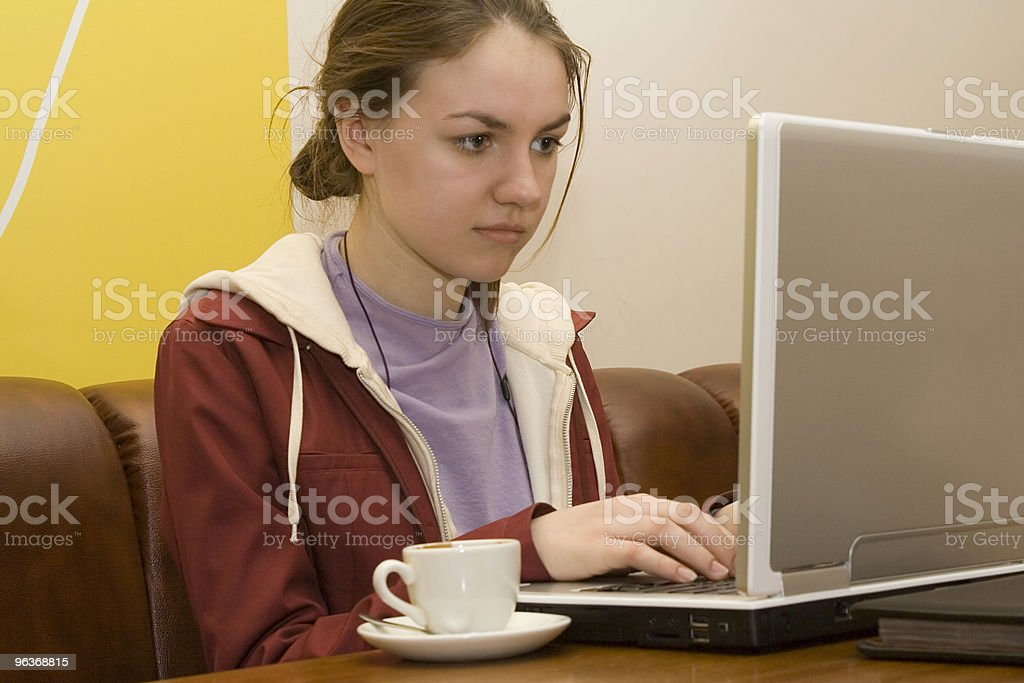 girl with laptop royalty-free stock photo