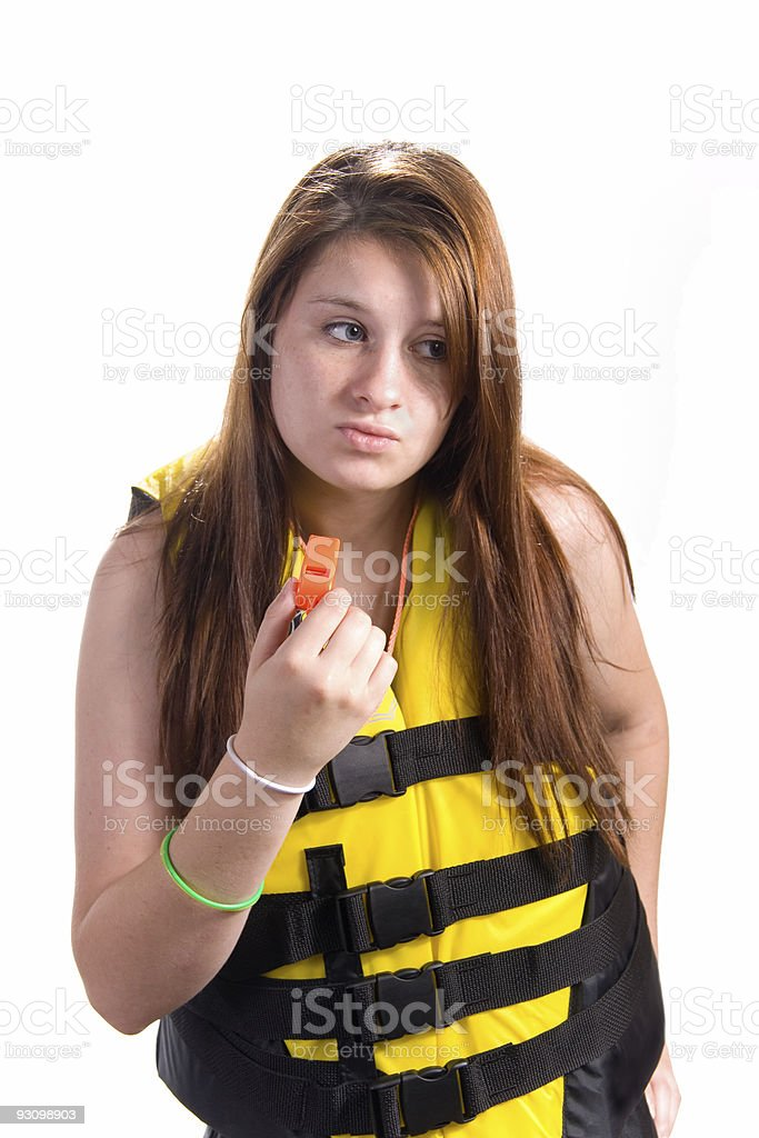 Girl with Lifejacket and Safety Whistle royalty-free stock photo