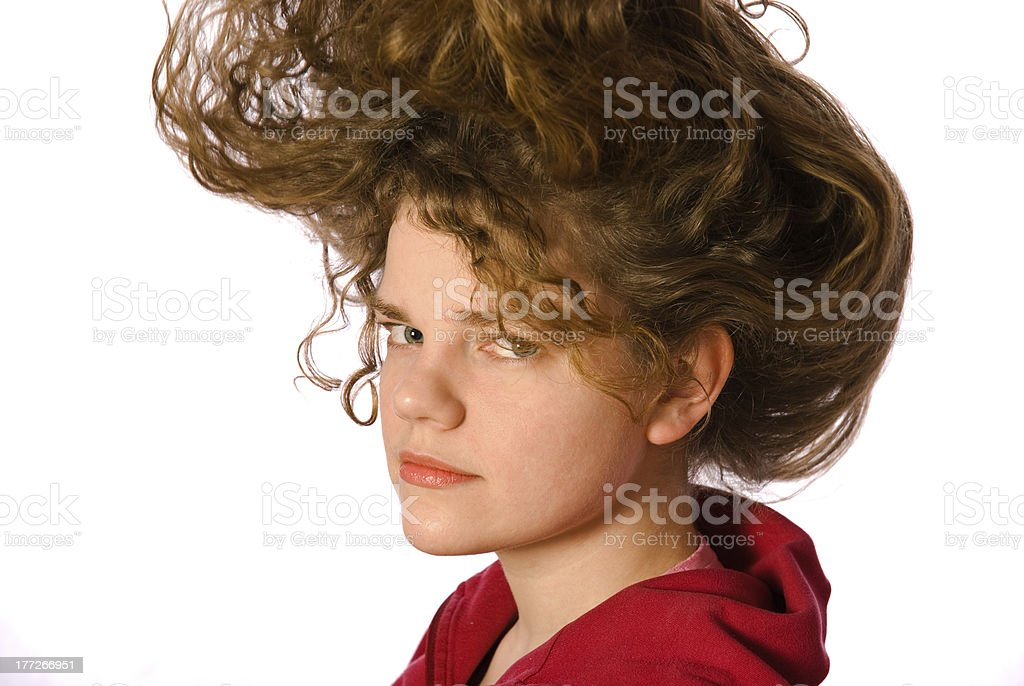 Girl with long curly hairs royalty-free stock photo