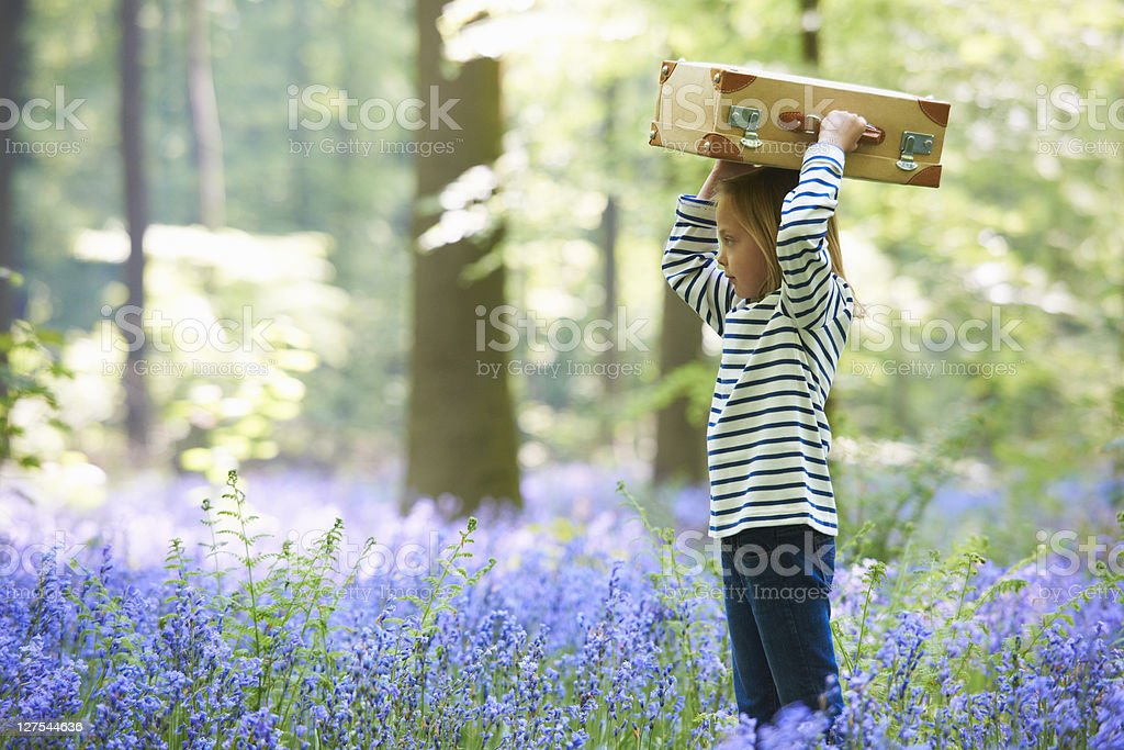 Girl with luggage in field of flowers stock photo