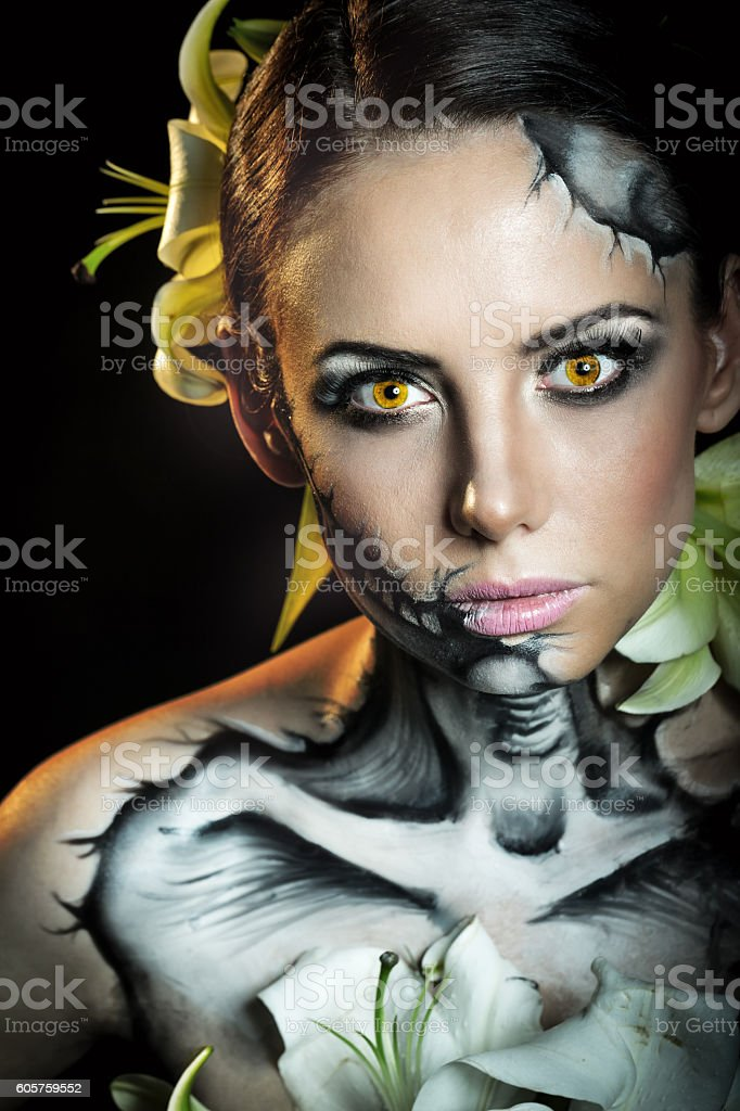 Girl with makeup for Halloween. Fright stock photo