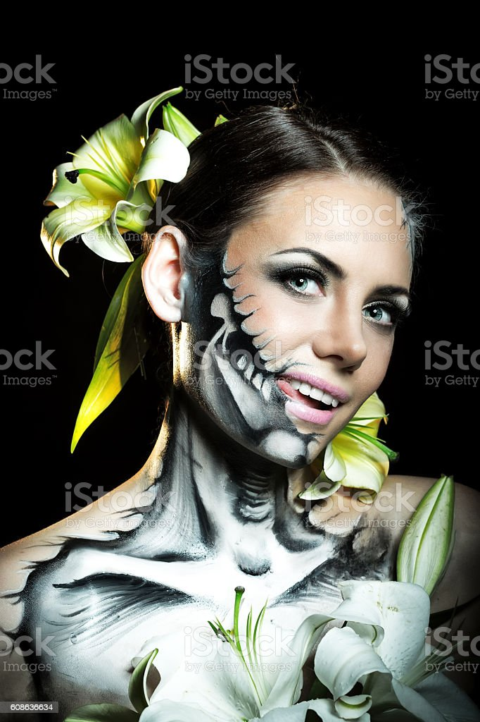 Girl with makeup for Halloween. Jitters stock photo