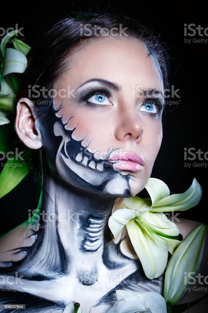 Girl with makeup for Halloween stock photo